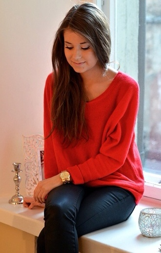 blouse red blouse black leather pants sweater