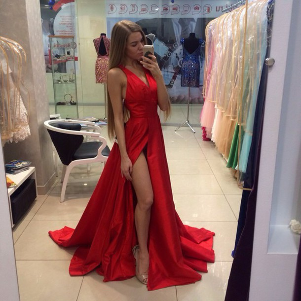 dress, red dress, prom dress, prom, prom gown, long dress, slit ...