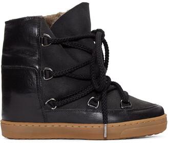 sheepskin boots black shoes