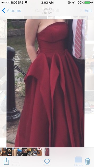 dress oxblood prom dress burgundy dress cinderella dress strapless