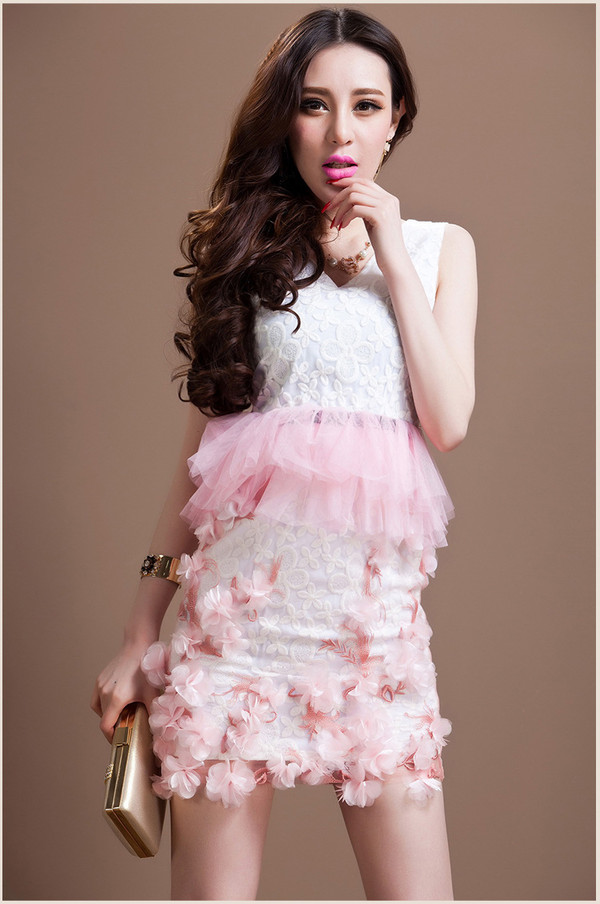 dress dress bqueen fashion girl pink flowers sexy elegant cute lovely lace chic v neck sweet floral mesh summer
