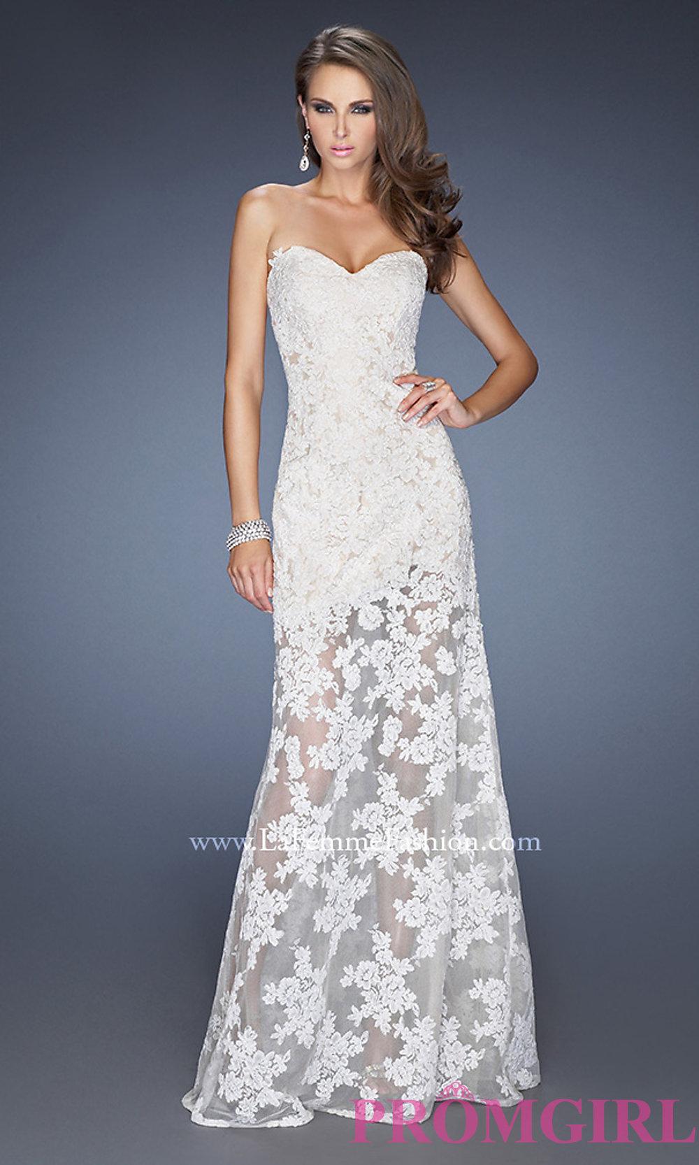 La femme long lace strapless dress