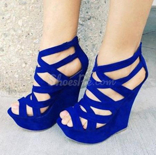 Shoes: wedges, heels, blue wedges, strappy heels, strappy wedge ...