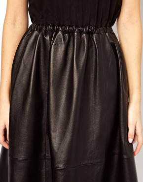 ASOS | ASOS Midi Dress With Leather Skirt And Jersey Top at ASOS