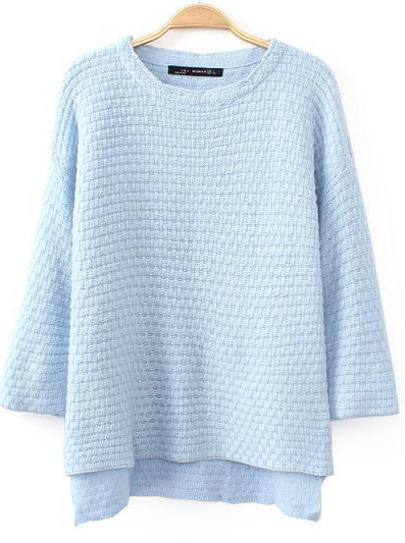 Light Blue Half Sleeve Dipped Hem Sweater - Sheinside.com