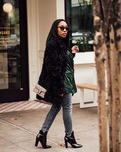 jacket,topshop,patent boots,ankle boots,black boots,grey jeans,black fur jacket,bag