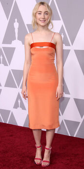dress,orange,orange dress,midi dress,saoirse ronan,sandals,shoes