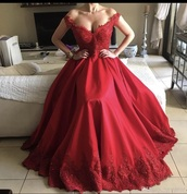 dress,red dress,lace,prom dress,satin,gown,off the shoulder,long,lace dress,burgundy