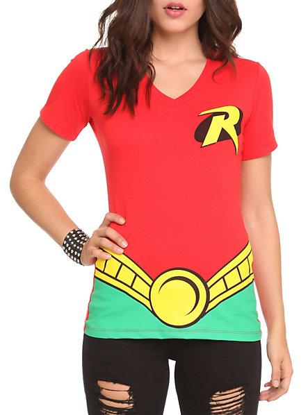 sc 1 st  Where To Get It & DC Comics Robin Costume V-Neck Girls T-Shirt   Hot Topic