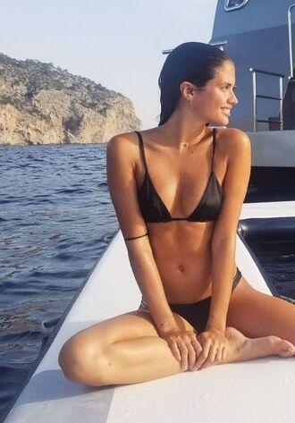 swimwear bikini top bikini bottoms bikini sara sampaio model off-duty summer beach instagram