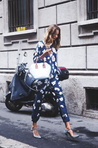 jumpsuit onepiece outfit vogue blue outfit flowers