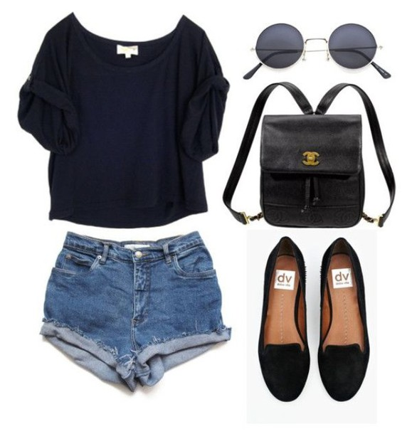 shirt black top style crop tops sunglasses bag shorts loafers round sunglasses smoking slippers shoes
