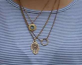 t-shirt native american necklace hamsa bronze jewels shirt striped