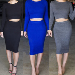 Online shop fall winter 2014 long sleeve knitted women suit dress dew navel exposed belly bodycon dresses ribbed sweater sexy vestidos pro