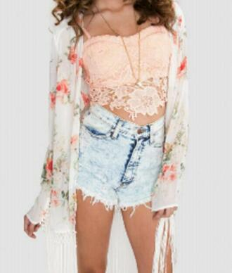 outfit white summer outfits red green crochet top floral shorts blouse necklace flirty trend trending off-white rose demin bustier detail crop tops neutral high waisted shorts high acid wash flirt details