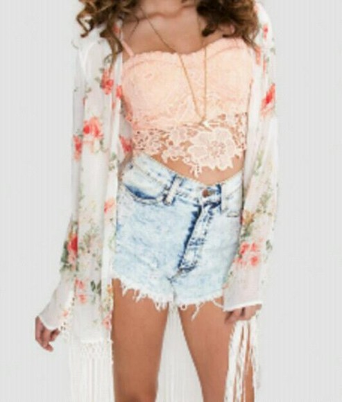 shorts necklace blouse details demin white bustier summer flower trend trending off white red green rose detail crochet crop top neutral high-wasted denim shorts high acid wash flirty flirt outfit