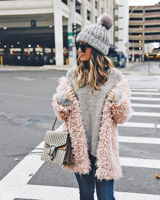 sweater tumblr grey sweater knit knitwear knitted sweater grey beanie knitted beanie beanie pom pom beanie coat pink coat fuzzy coat
