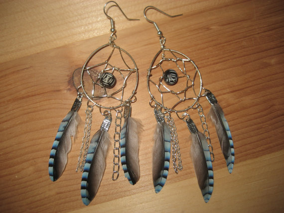 Blue Jay Feather Dream Catcher Earrings by Azeetadesigns on Etsy