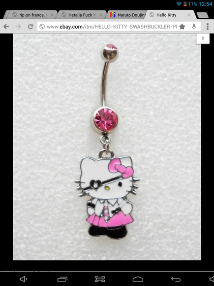 pirate jewels hello kitty belly button ring pink