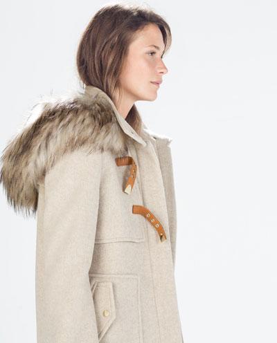 trench en drap de laine capuche bord e de fourrure synth tique manteaux femme zara france. Black Bedroom Furniture Sets. Home Design Ideas