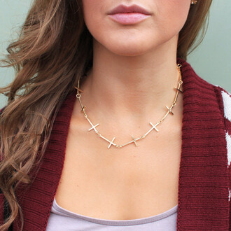 cross round necklace jewels