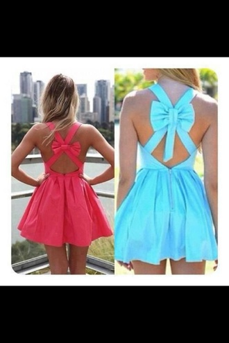 dress pink turquoise bows bow back dress i want this