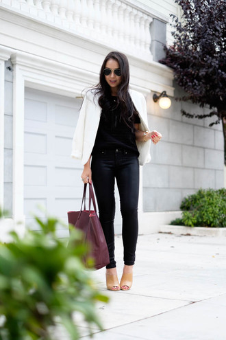 the fancy pants report blogger jeans jacket top sunglasses bag black leather pants leather pants black pants aviator sunglasses white jacket burgundy thanksgiving outfit
