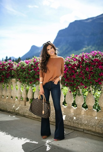 thesweetestthing blogger jeans shoes jewels bag sunglasses long sleeves high waisted jeans louis vuitton blue jeans flare jeans louis vuitton bag handbag brown bag three-quarter sleeves necklace hoop earrings earrings