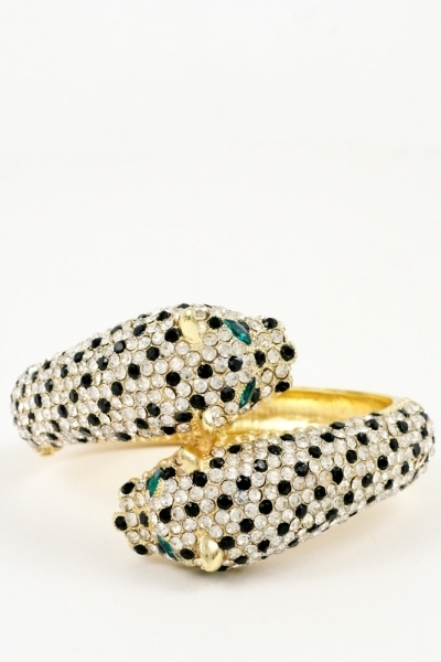 Lux panther hinged bangle