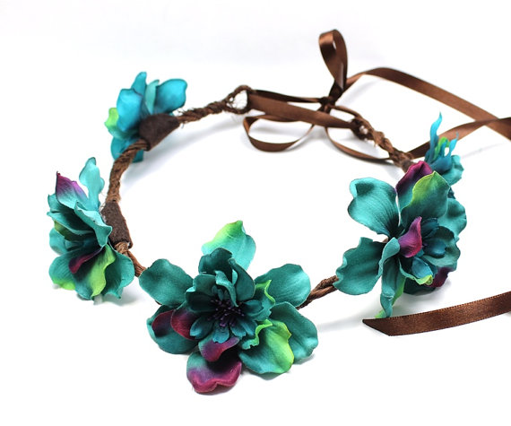 Turquoise flower crown, floral crown, flower headband, hair wreath