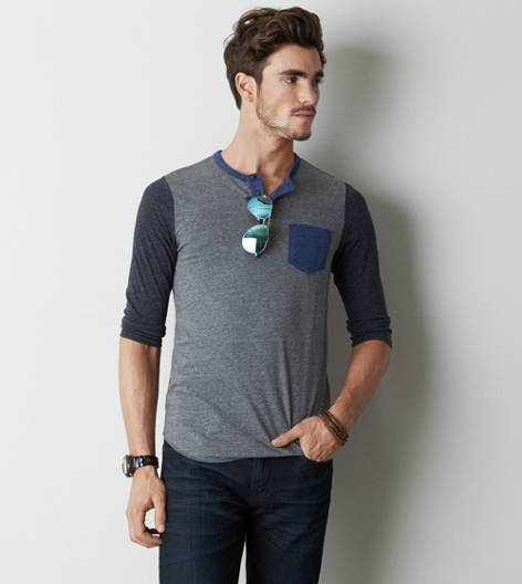 AEO Pocket Baseball T-Shirt, Gravel | American Eagle Outfitters