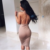 dress,open back,nude,midi,beige,taup,nude dress,caramel,strappy dress,sexy dress,little black dress,mini dress,nude mini dress,open back dresses,tight,tumblr,cute,beautiful,long dress,backless,club dress,clothes,clubwear,vegas,backless dress,bodycon dress,sexy,style,summer,summer dress