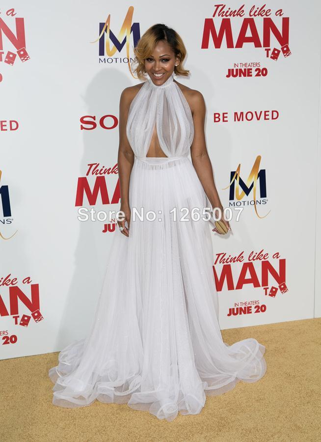 Aliexpress.com : Buy 2014 Meagan Good Michael See Through High Neck Open Back Sexy Tulle Backless Formal Long Dress Special Occasion Dress from Reliable dress white dress suppliers on SFBridal