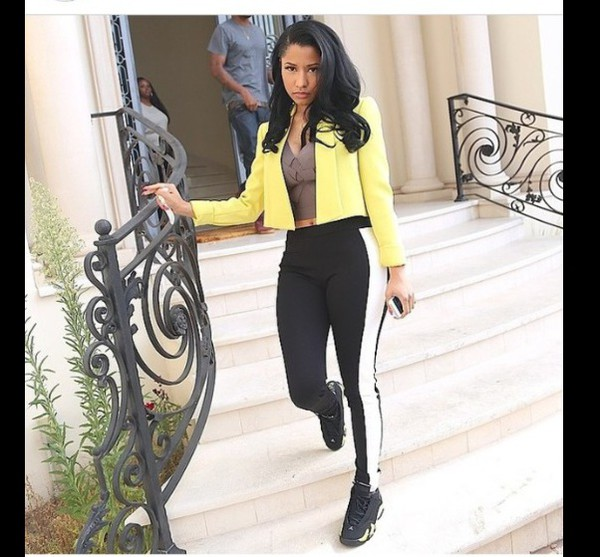 jeans jacket cardigan pants shoes nicki minaj yellow jacket