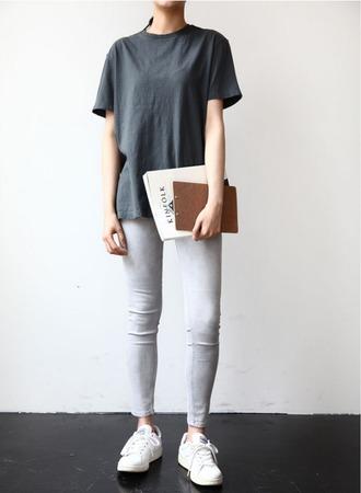 t-shirt top tee grey