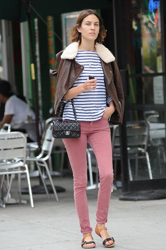 alexa chung skinny pink jeans jacket jeans