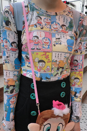 shirt,kawaii,harajuku,anime,doraemon,long sleeved shirt,graphic tee,doraemon shirt,manga,manga shirt,retro,vintage anime,90s style,80s style,alternative,sweet,cute,cute shirt,graphic shirt,comics,colorful,vintage,teenagers,soft grunge,blue,pink,yellow,japan,japanese,pants,cartoon,long sleeves,lovely,sweat,funny,t-shirt,comic shirt,blouse,anime shirt