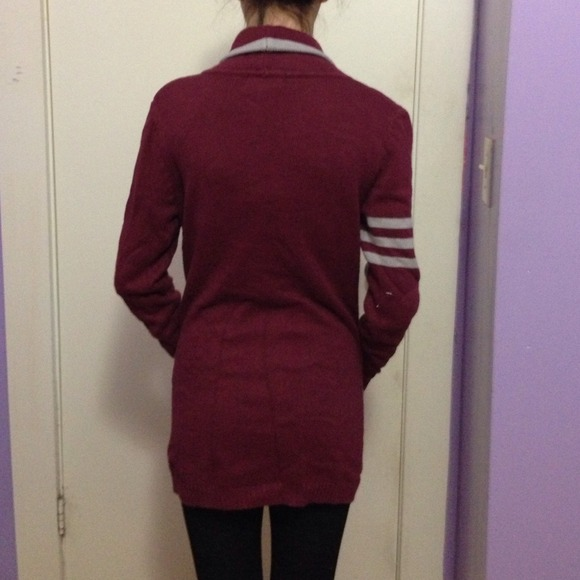 37% off Forever 21 Sweaters - Varsity maroon cardigan from Jacqueline's closet on Poshmark