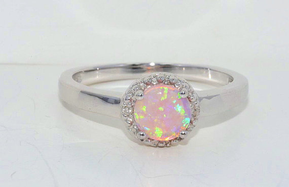 6mm Pink Opal Diamond Ring White Gold by ElizabethJewelryInc
