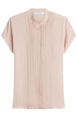 blouse short silk beige top