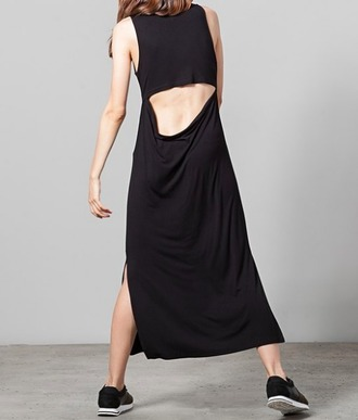 dress black dress slit dress maxi dress cut-out dress