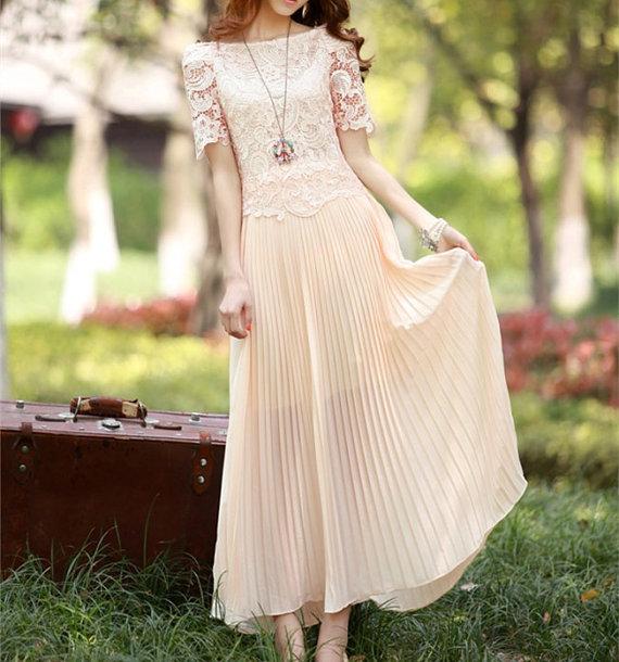 Women's beige beach dress/chiffon dress/lace/silk by angelcity2012
