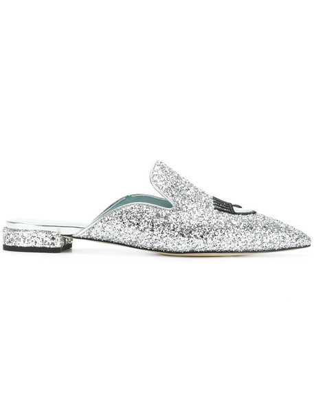 Chiara Ferragni glitter women mules leather grey metallic shoes