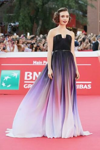 robe lily collins ombre formal purple