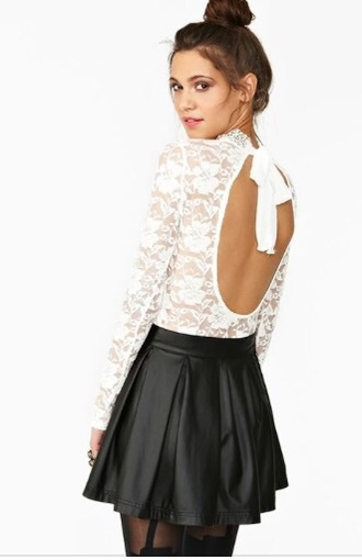 blouse white lace top open back