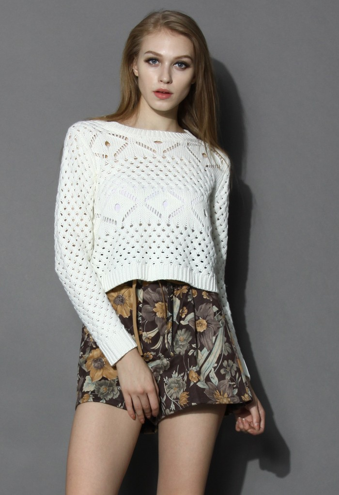 Open Knit Cropped Sweater in White - Retro, Indie and Unique Fashion