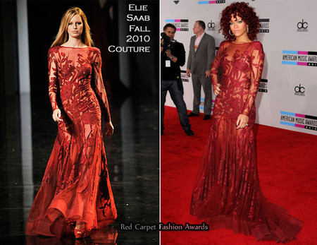 Elie saab red carpet rihanna red lace long sleeve floor length evening dress