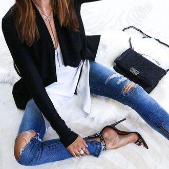 jeans tumblr denim blue jeans ripped jeans top white top jacket black jacket sandals sandal heels high heel sandals black sandals bag chanel chanel bag