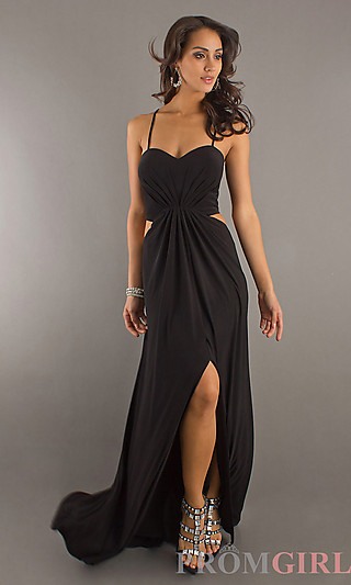Long Black Cut Out Gown, Temptation Black Prom Dresses- PromGirl