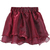 Wine Red Layered Mesh Flare Short Skirt - Sheinside.com